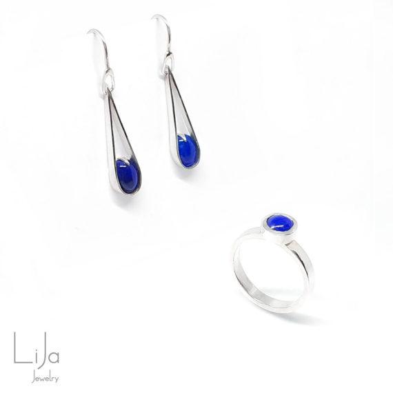 Goudsmid LiJa Jewelry oorbellen ring lapis lazuli blauw