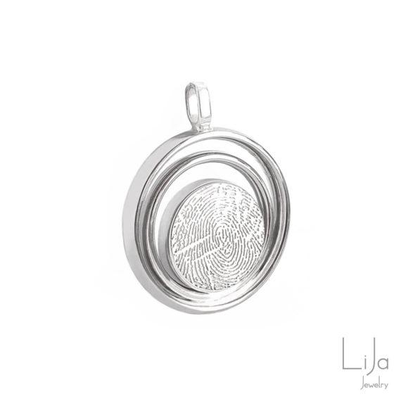 Edelsmid Lija Jewelry Ashanger Herinneringssieraad Trouwring Vingerafdruk
