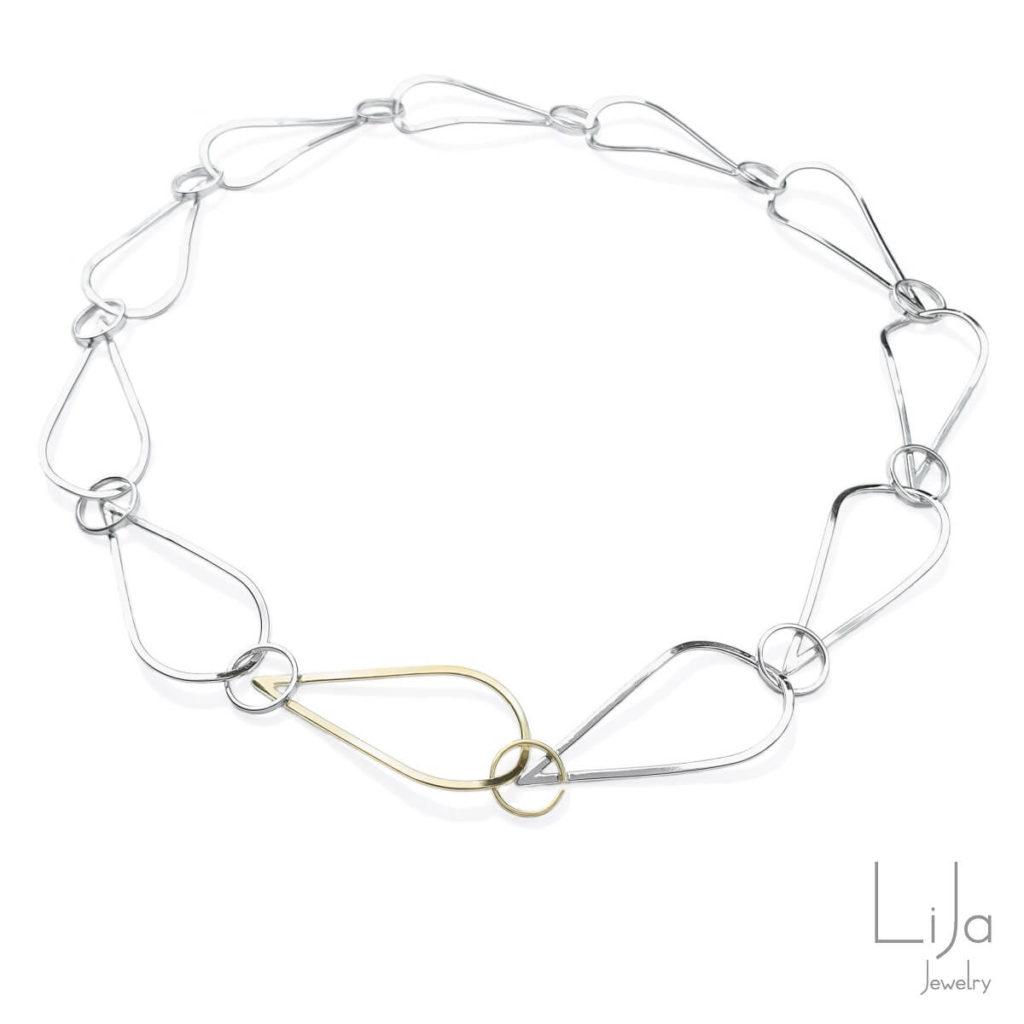Goudsmid Lija Jewelry Collier Zilver Geelgoud Schakel Modern
