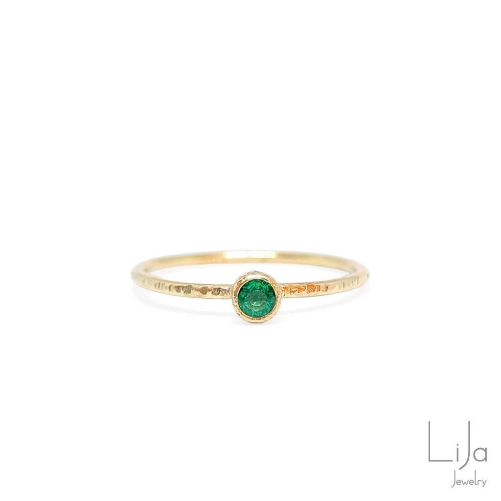 lija jewelry geelgouden ring smaragd